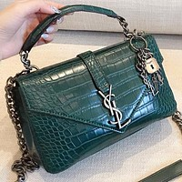 YSL Fashion New Leather Women Shopping Leisure Chain Shoulder Bag Crossbody Bag Handbag Green