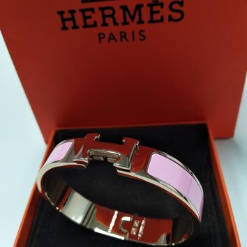 "Authentic HERMES Enamel Bangle Rose Gold 18K ""Clic Clac H"" Bracelet Pink PM NTW"