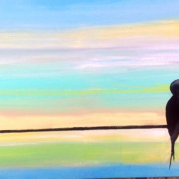 Birds on a Wire Lovebirds Painting. 24x12 Romantic Original acrylic on canvas with blue green background. Perfect for anniversary or wedding