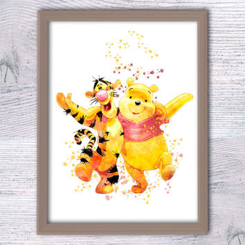 Winnie and Tigger print Pooh Bear watercolor poster Disney wall decor Home decoration Child room decor Baby shower gift Nursery decor V63