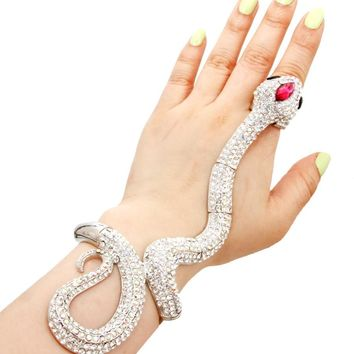"6.50"" long crystal snake ring bracelet stretch cuff bangle"