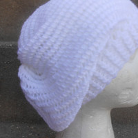 white hat,Hand knit hat - Chunky charcoal wool hat, slouchy hat