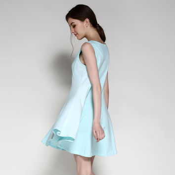 Summer Home Simple Design Casual Cotton Round-neck One Piece Dress [4918266948]