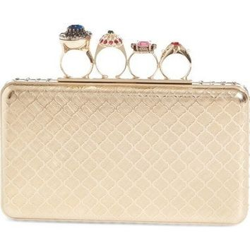 Embellished Knuckle Clasp Box Clutch