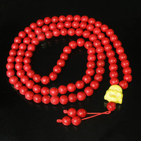 Tibet Red Turquoise Stone 10mm 108 Beads Yellow Happy Buddha Beaded Buddhism Prayer Mala Necklace