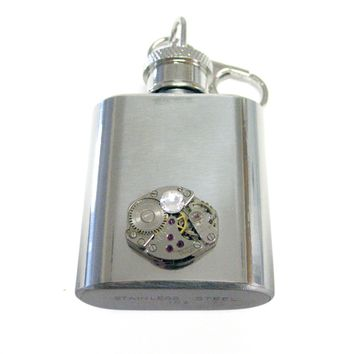 1 Oz. Stainless Steel Key Chain Flask with Steampunk Watch Gear Pendant and Clear Swarovski Crystal
