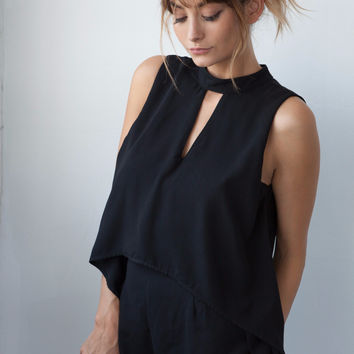 Layered Cut-Out Romper
