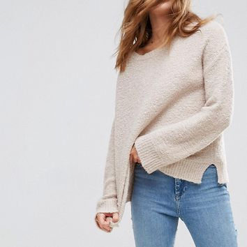 ASOS Sweater With Slash Neck In Boucle Yarn at asos.com