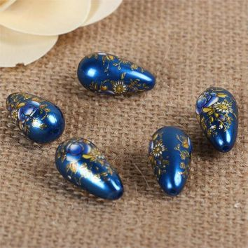 Acrylic Spacer Japan Painting Vintage Japanese Tensha Beads Drop Sakura Flower Royal Blue & Pink About 22mm x 11mm, 5 PCs