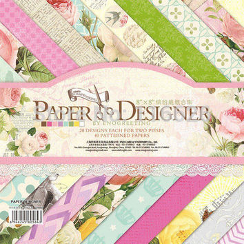 40sheets lot pretty cute floral pattern creative papercraft art paper handmade scrapbooking kit set books