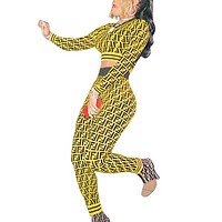 Fendi Autumn New Fashion  More Letter Print Two Piece Suit Sports Leisure Long Sleeve Top And Pants Yellow
