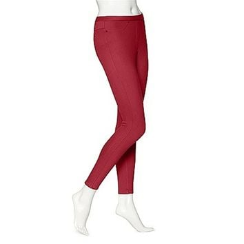 Hue Twill Jeans Leggings - Deep Red