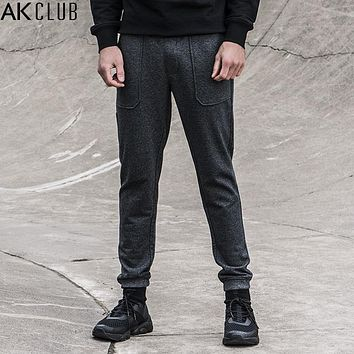 Sweatpants French Terry Fabric Ankle Tied Pants Full Length Elastic Waist Pockets Men Sweatpants