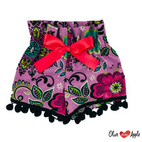 Purple Floral with Black Fringe High Waist Bloomers