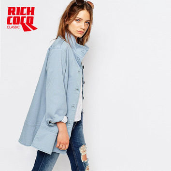 Fashion Autumn Winter Women Casual Loose Long Sleeve Button Outerwear Jacket Windbreaker a13156