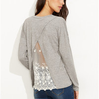 Gray Long Sleeve T-Shirt with Back Lace