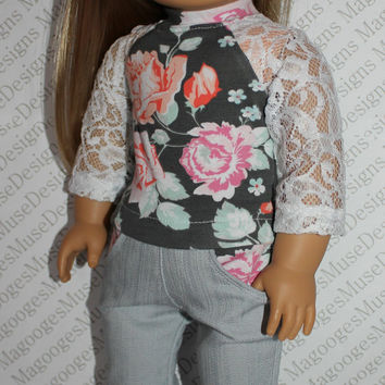 18 inch doll clothes, white lace sleeve, floral baseball tee,  grey skinny jeansjeans, american girl ,maplelea