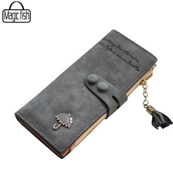 Women's Purse High Quality Design With Umbrella Women Wallet Long Style Luxury Design Brands Cute Girl Leather Purse C0440/l