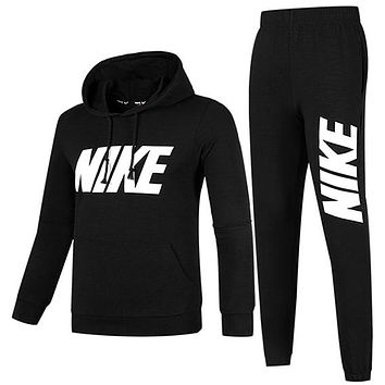 NIKE 2018 new plus velvet men's sports and leisure running clothes two-piece Black