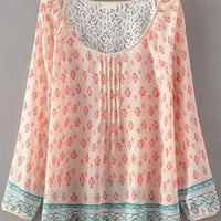 Light Pink Floral Long Sleeve Cut-Out Lace Chiffon Blouse