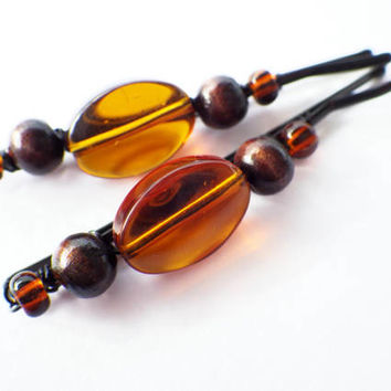 Topaz Brown Glass- Wood Beads- Beaded Black Bobby Pins- Dark Hair Colors- Natural- Summer Hair Style Accessory- Unique Gift for Her- Women