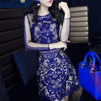 Women's Mini Dress Round-Neck Long Sleeve Cocktail Party Lace Dress Blue New