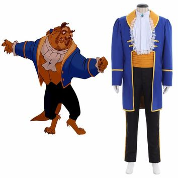 Custom Made Adult Beauty and The Beast Prince Adam Cosplay Costume Adult Wens Bridegroom  Wedding Jacket Pants Shirt Tie Suit
