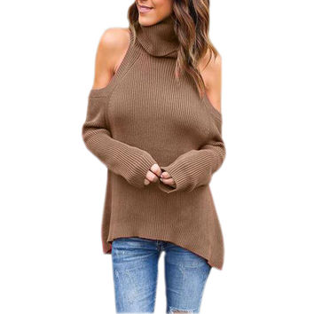 Knitted Sweater Women Turtleneck Off Shoulder Tricot Pullover Jumpers Pull Femme Autumn Fashion Woman Pullovers Sweaters GV418