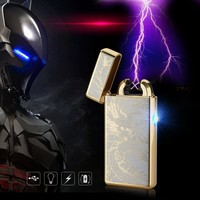 Cigar Cigarette Novelty Usb Rechargeable Electric Arc Lighters Personalized Cross Double Pulse Slim Lighter No Gas Smokeless