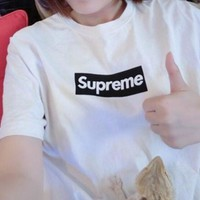 Supreme Fashion Women Men Leisure Letter Print Short Sleeve Round Collar Pullover Top T-Shirt