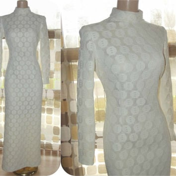 Vintage 60s 70s White Crochet Lace Formal Gown Wedding Maxi Dress Sz 8 MOD Long Sleeve High Neck Side Slits Gregg Draddy