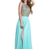 Manfei Women's Chiffon Long Prom Dress Luxury Crystal Sexy Backless with Slit Side Mint Green Size 14