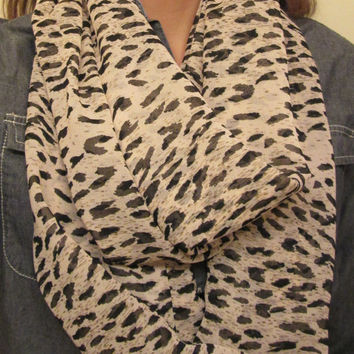 Great for Fall! Silk, Tan and Black Leopard Print, Homemade, Infinity Scarf.