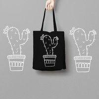 Cactus Black Tote Bag Canvas - Canvas Tote Bag - Printed Tote Bag - Market Bag - Cotton Tote Bag - Large Canvas Tote - Funny Tote Bag Dots