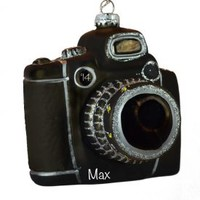 BLACK & SILVER GLASS Camera With Zoom Lens Ornament | Personalized Ornaments For You
