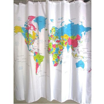 180X180cm World Map Bath Shower Curtains With 12 White Plastic C-type Hook Home Bath Curtains Bathroom Products