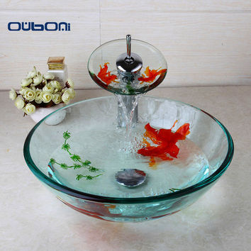 New Arrival Modern Bathroom Glass Golden Fish Painted Vessel Sink Faucet & Pop up Drain Combo Sink Set Bathroom Sink Accessaries