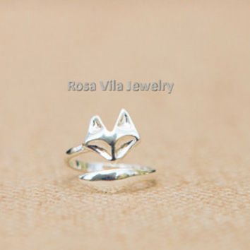 Adjustable Fox rings - Rose Gold and Silver; adjustable size; minimalist knuckle rings, midi rings, mini rings, animal ring