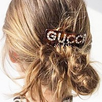 Gucci Stylish Girls Women Elegant Letter Diamond Hairpin Edge Clip Duckbill Clip Spring Clip Accessories Black