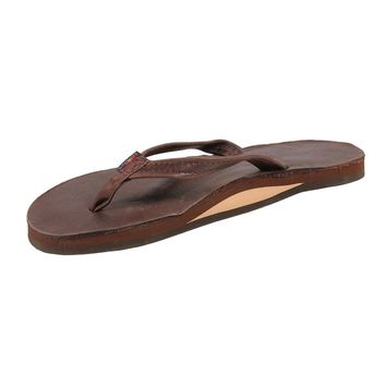 Women's Thin Strap Classic Leather Single Layer Arch Sandal in Mocha by Rainbow Sandal