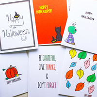 Halloween and Thanksgiving Card Assortment - 6 Card Pack - Set of Cards