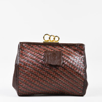 VINTAGE Fendi Two Tone Brown Woven Leather Ring Lock Frame Clutch Bag