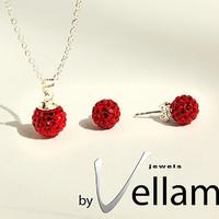 Red crystal ball necklace and earrings, sterling silver, Swarovski disco ball, red, pendant and stud earrings