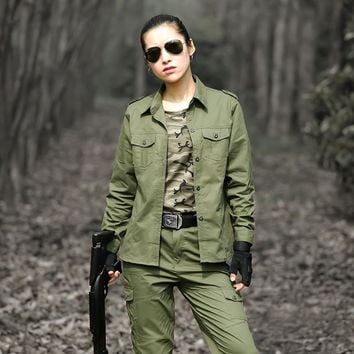 Military Hunting Clothes For Women Tactical Camouflage Uniforms Multicam Suit Uniforme Militar Cotton Combat Shirt+Pants Female