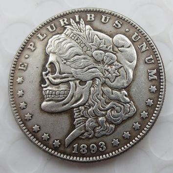 US Head-To-Head Two Face 1893/1893 Morgan Dollar skull zombie skeleton hand carved Copy Coins