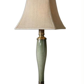 Buffet Table Lamp - Blue-green Glass Base With Bronze Accents