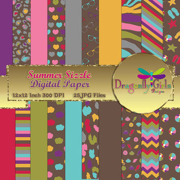 80% OFF Sale Summer Sizzle, digital paper, commercial use, scrapbook papers, background, flowers, clouds Seashells, Houndstooth Chevron