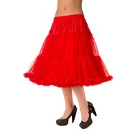 Banned plus Rockabilly Swing Dance Bridal Underskirt Super Soft Petticoat Red 26""