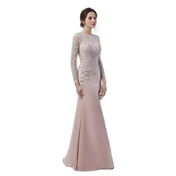 Long Sleeves Dresses Lace Applique Sheer Illusion Back See Through Long Mermaid Blush Pink Wedding Event Brides Maid