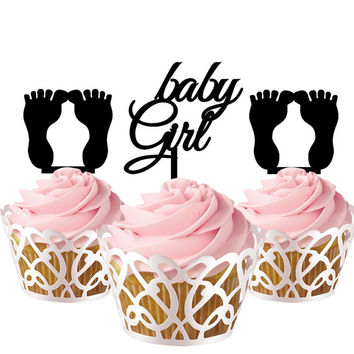 3 pcs in one set baby girl and foot CupCake toppers for party decor, baby shower cake toppers acrylic,  gift for new born baby
